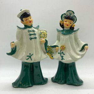 VTG CA USA Florence Ceramic Asian Couple Figurines